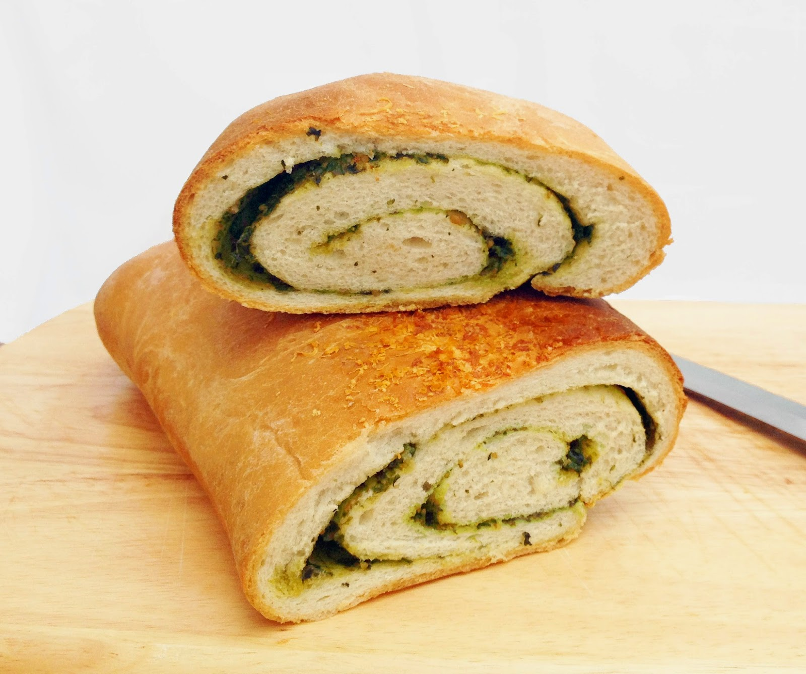 white bread swirled with pesto