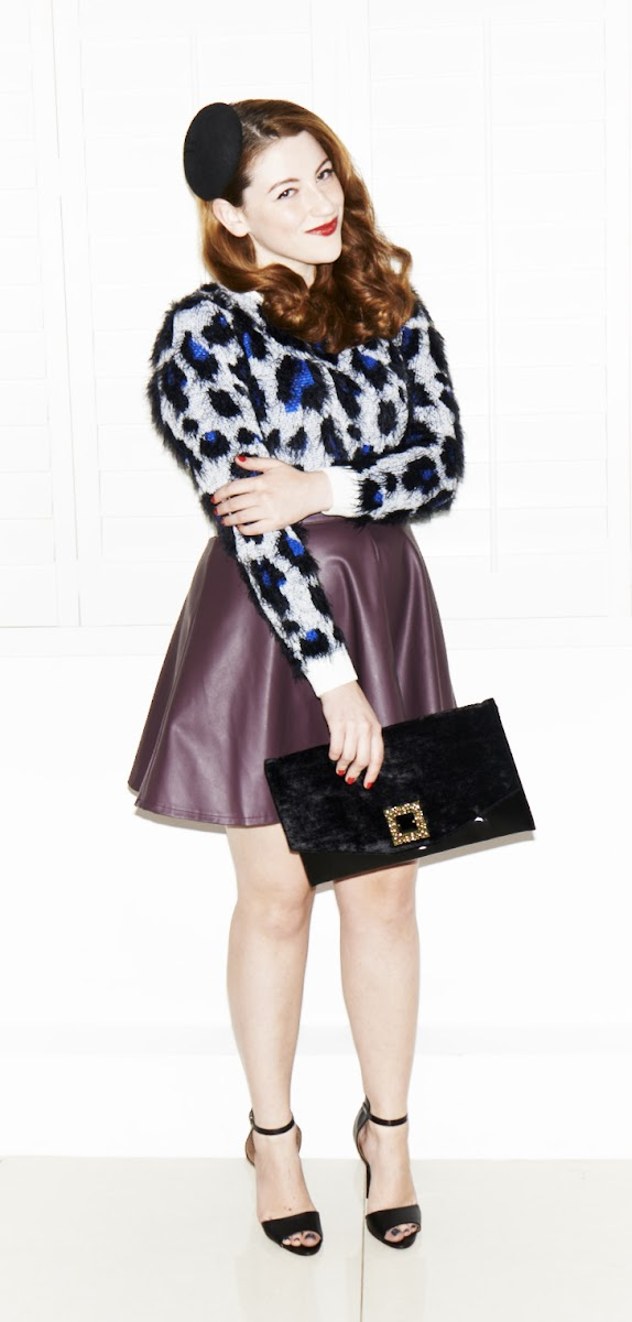 Leopard print jumper and high waisted skirt