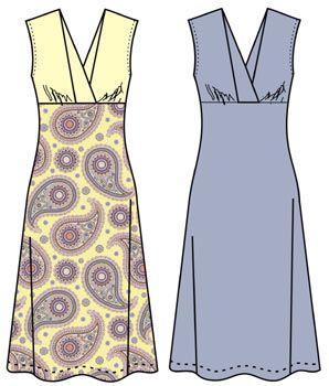 Molde de vestido con corte en el busto