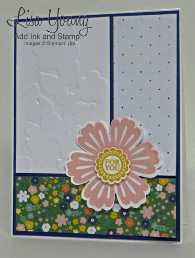 Stampin' UP! Mixed Bunch stamp set with Flowerpot designer series paper. Easy card  wit punched flower. Handmade card by Lisa Young, Add Ink and Stamp