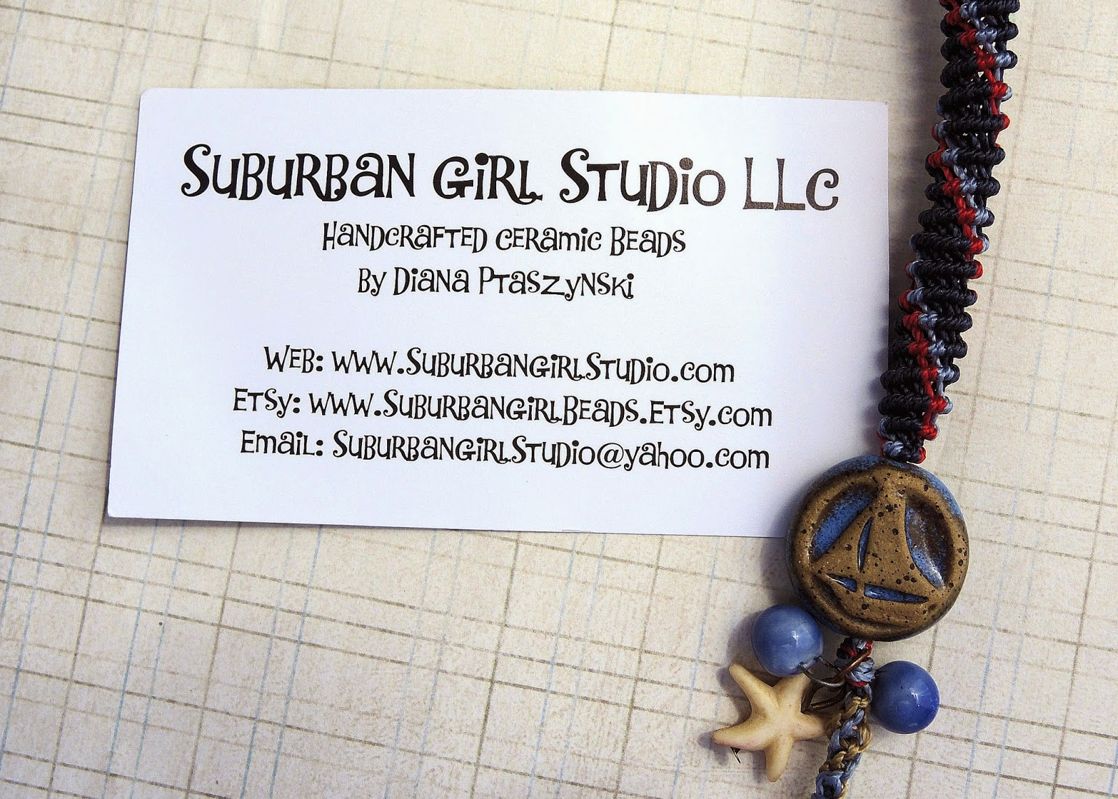 Ceramic beads by Diana Ptaszynski of Suburban Girl Studio.