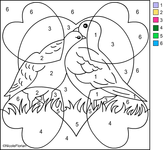 Valentine Color by Number Coloring Pages 1080p