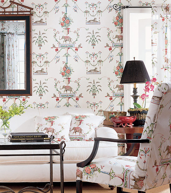 Thibaut Fabrics And Wallpapers: Chinoiserie Chic: Thibaut Elephants, Monkeys, And Tigers