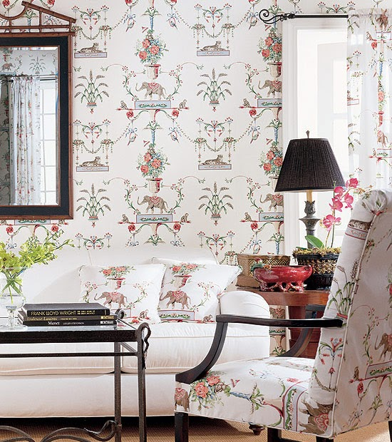 Chinoiserie chic thibaut elephants monkeys and tigers for Coordinating fabrics for living room