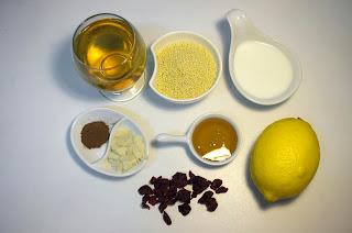 Pudin de mijo con zumo de manzana y salsa de frutos rojos- ingredientes