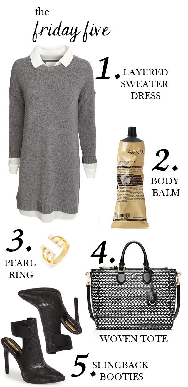 the friday five with jessica simpson slingback booties, bauble bar pearl ring, aesop body balm, tory burch woven tote and sweater dress M Loves M @marmar
