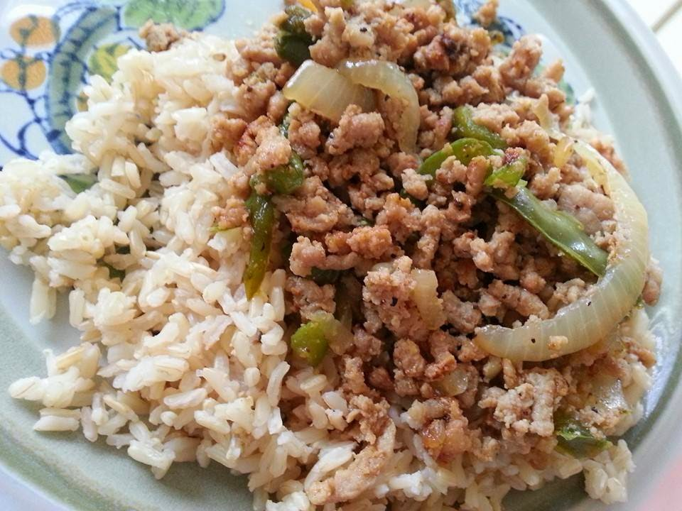 http://sharingwithmysisters.blogspot.com/2014/07/pork-peppers-and-onions-over-rice.html