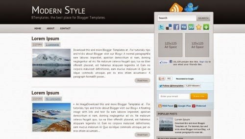 Modern Style - Free Blogger Theme