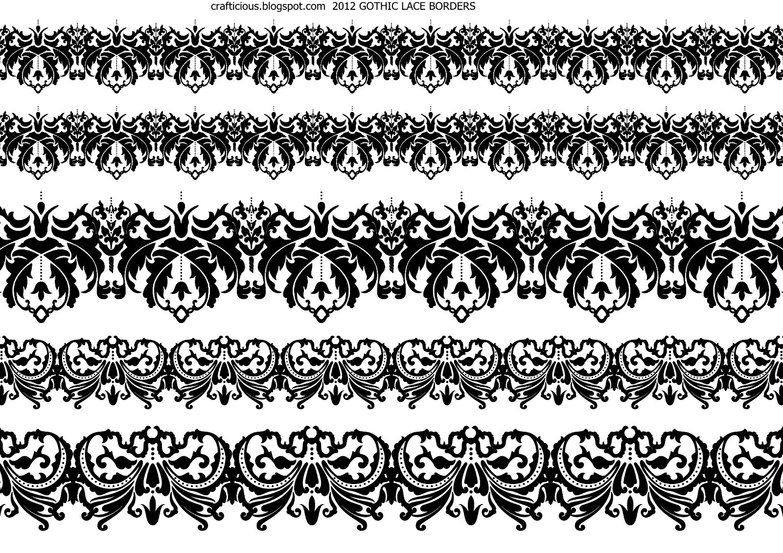Crafticious Digital Lace Borders Bats