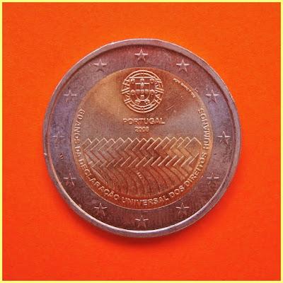 2 Euros Portugal 2008 Derechos Humanos
