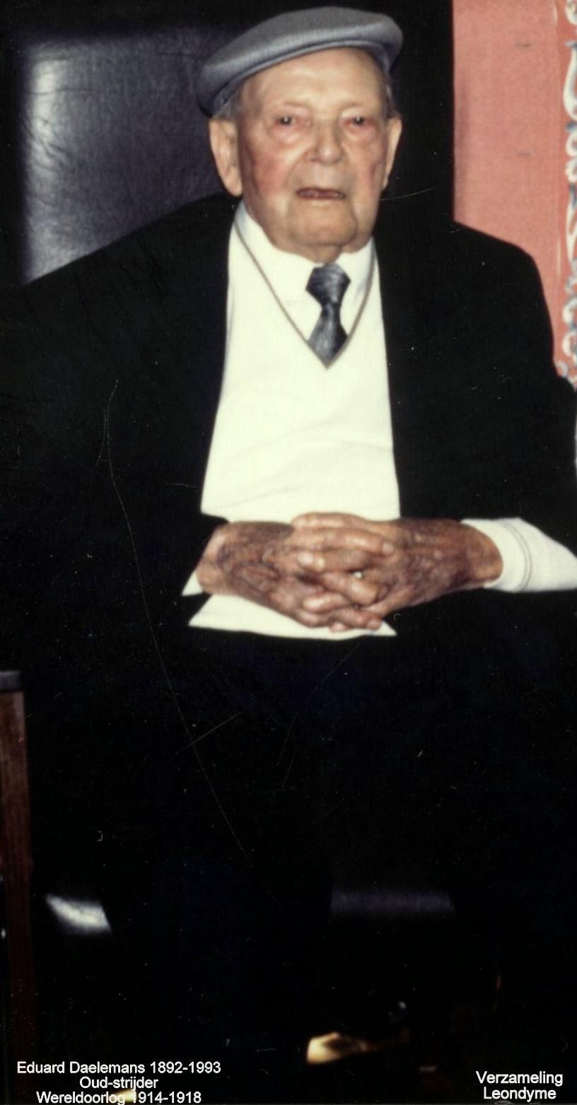 Voormalige oud-strijder Eduard Daelemans 1892-1993. Verzameling Leondyme.
