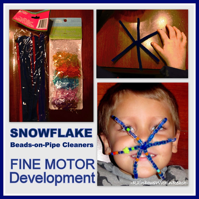 photo of: Fine Motor Snowflake with Beads on Pipe Cleaner via RainbowsWithinReach
