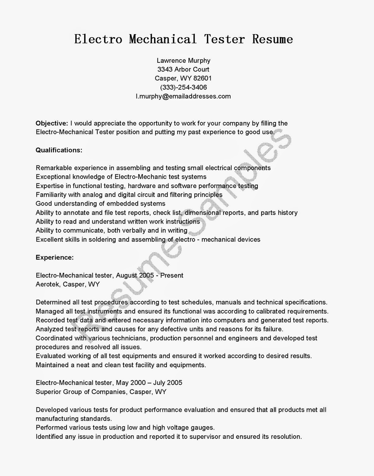 electro mechanical resume sles - 28 images - cover letter ...