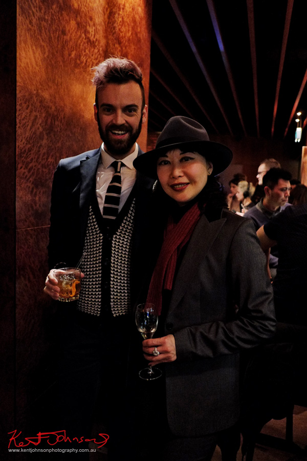 Christopher Haggerty and Vivienne of vivalaViv blog, Russell's Reserve 10 Year Bourbon at Grain Bar Sydney. Photo by Kent Johnson, Street Fashion Sydney.