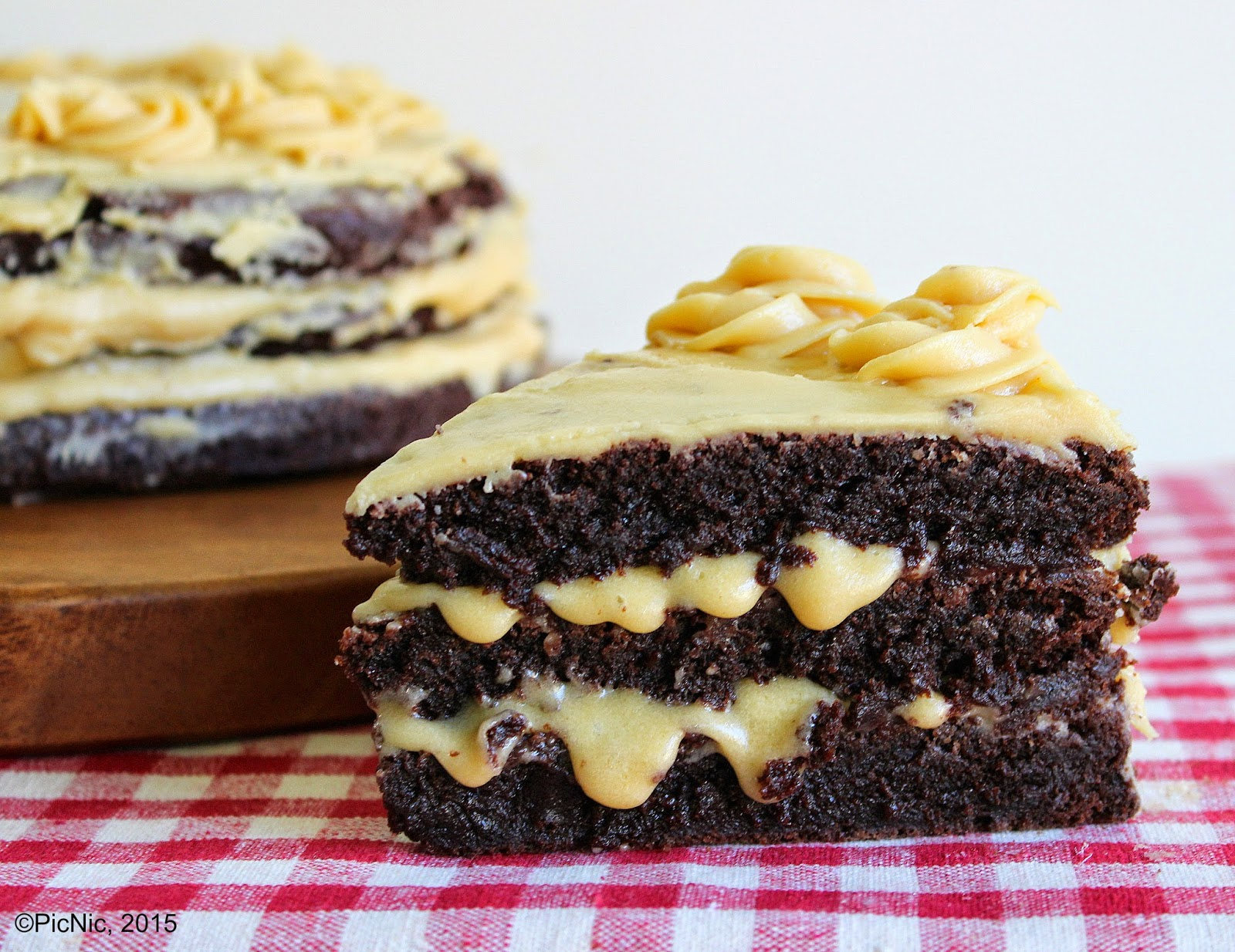 Triple Layer Brownie and Dulce de Leche Cake