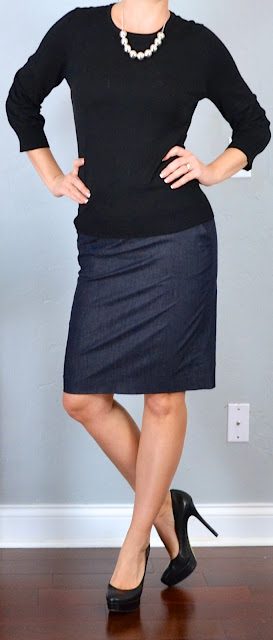 outfit post: black sweater, denim pencil skirt, silver ...