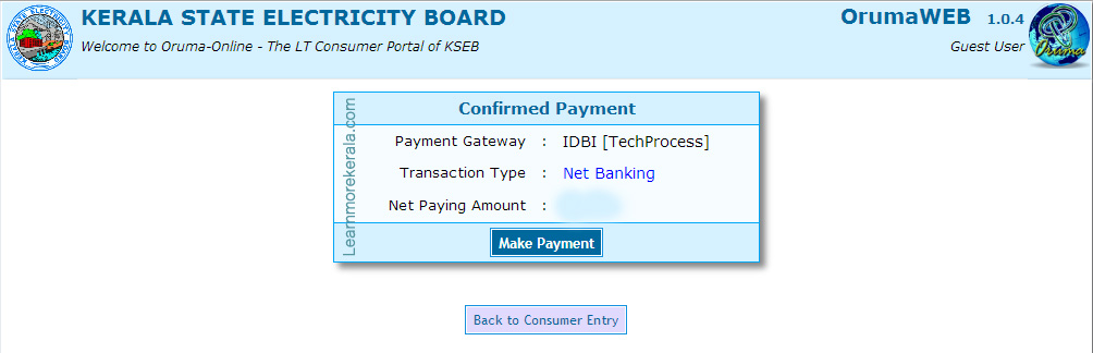 Kerala State Electricity board Online Bill Payment make payment page