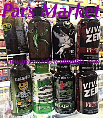 Selection of all Kratom Shots at Pars Market Columbia Maryland 21045
