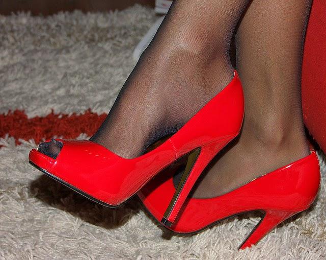 Red peeptoe stiletto heels