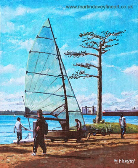 Sailing boat preparation at Weston Shore Southampton-oil painting