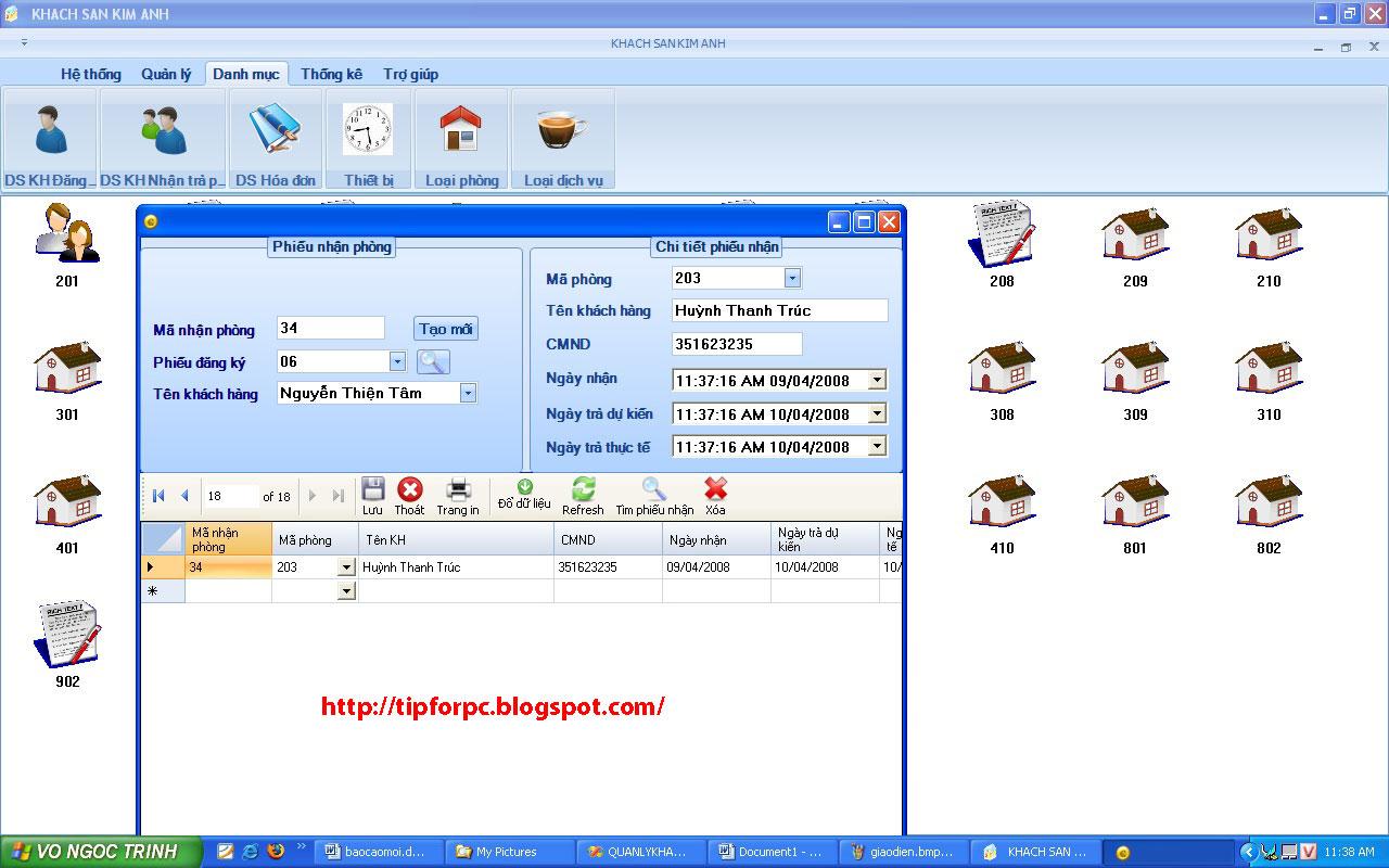 Đồ án tốt nghiệp Mã nguồn phần mềm Quản lý khách sạn Kim Anh
