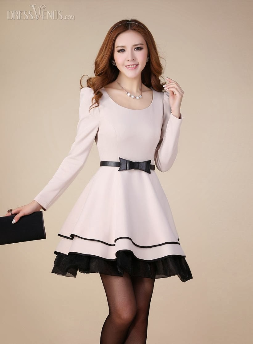 Amazing OL Style Bow Knot Puff Long Sleeves Bubble Sweet Korean Princess Dress