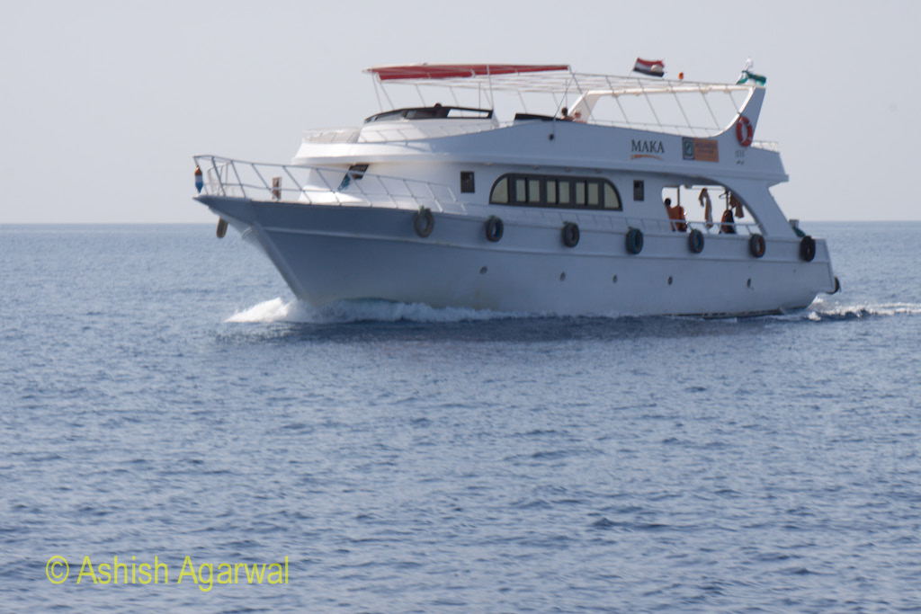 A typical example of the small ship used to carry tourists to the coral formations in Sharm el Sheikh