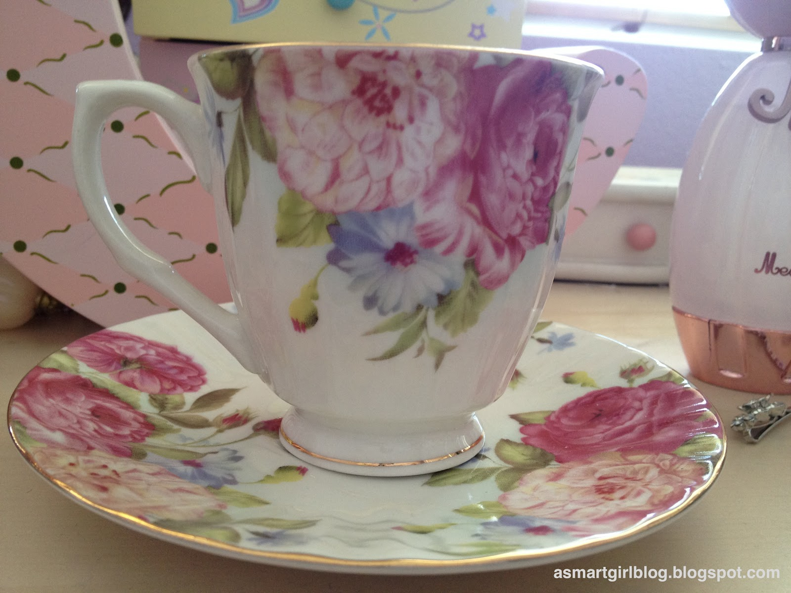 I Got This Tea Cup And Dish Set At A Local Discount Store For $5 $10, Not  That Bad For Such A Cute Set! :)