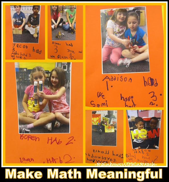 photo of: Meaning Math Bulletin Board in Kindergarten: Teams of children and their handwritten Math summary