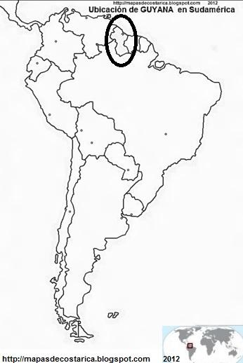 Ubicación de GUYANA en Sudamérica, blanco y negro