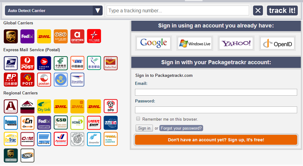Go to Package Tracking