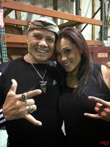 Jimmy Snuka And Tamina Snuka Backstage at Extreme Rules.