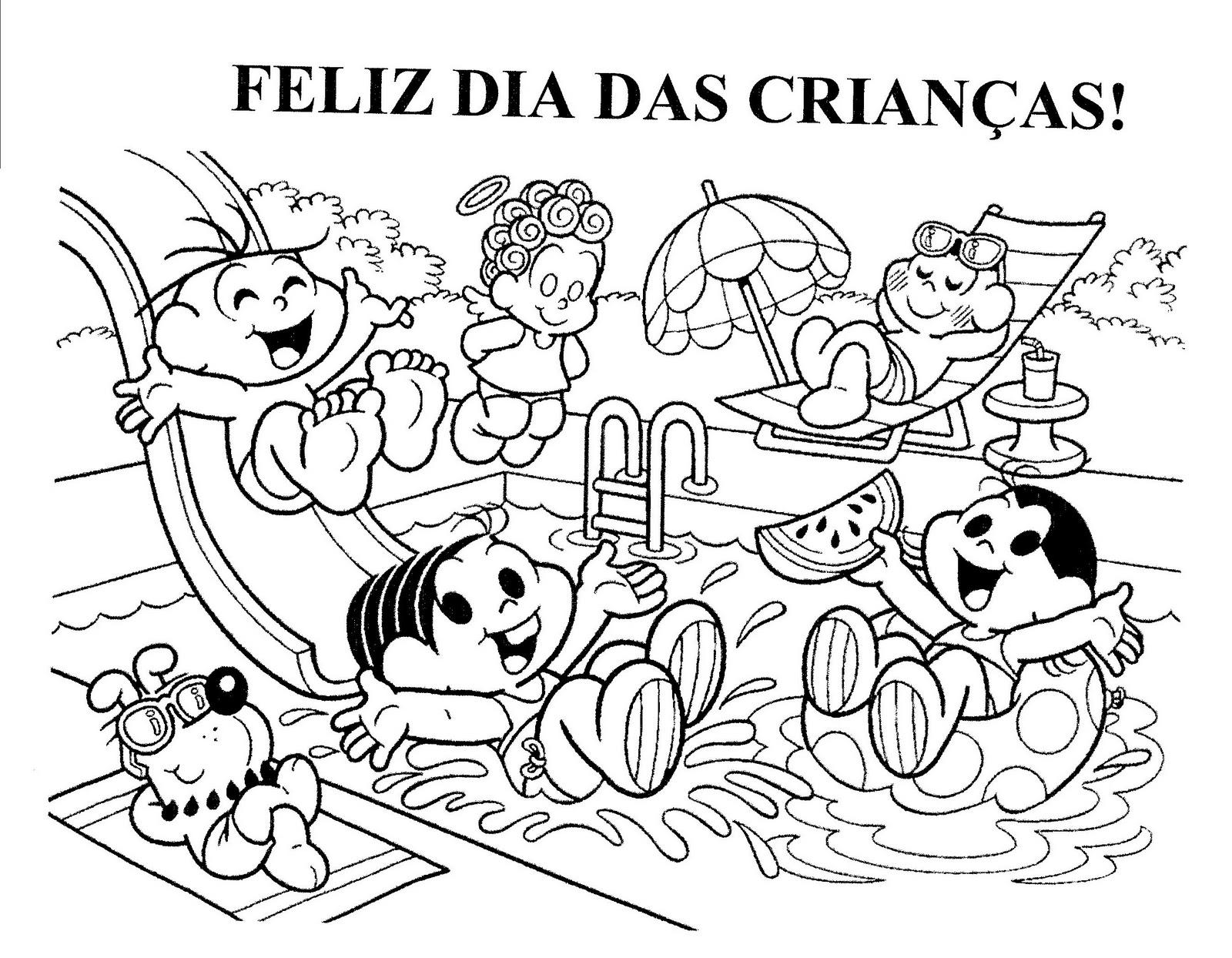 PARA COLORIR DIA DAS CRIANÇAS - TURMA DA MÔNICA.