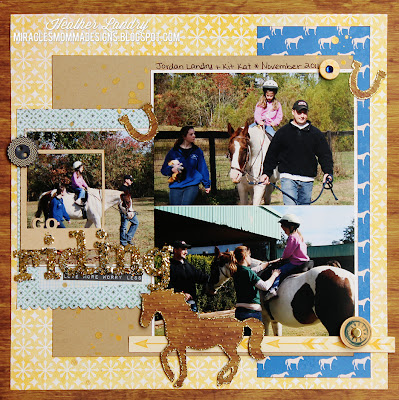 Horse Riding Scrapbook Page_Gold Glitter