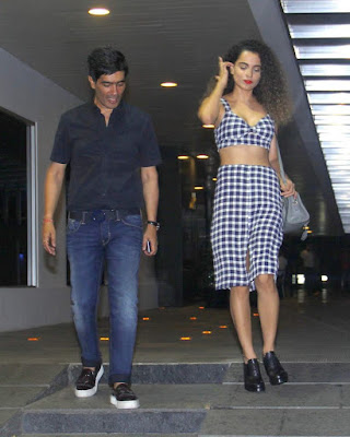 Kangana, Manish Malhotra and Ali Fazal were snapped outside Hakkasan in Mumbai