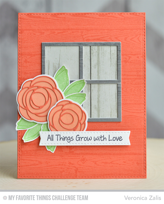 Grow with Love Card by Veronica Zalis featuring the Lisa Johnson Designs Scribble Roses stamp set, Scribble Roses, and Scribble Roses Overlay Die-namics, and the Window Die-namics #mftstamps