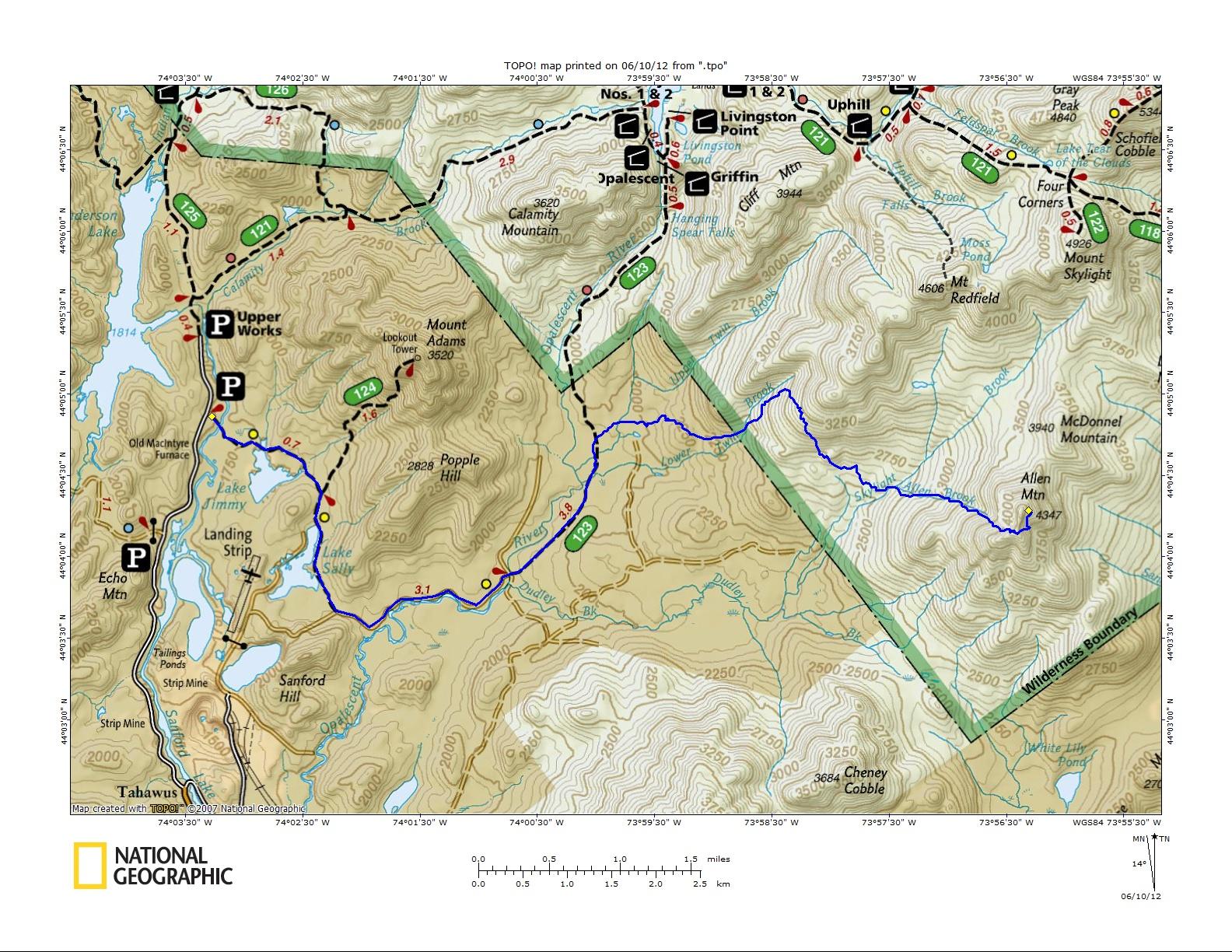 Off On Adventure Allen Mountain Adirondack High Peaks - Adirondack mountains on us map