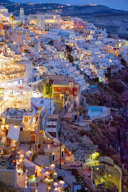 Fira by Night, Santorini, Greece, tapandaola111