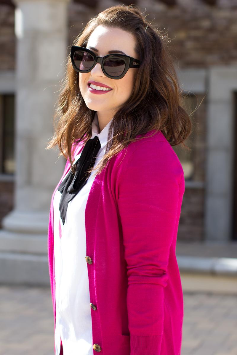 karen walker sunglasses, wavy lob, tie neck blouse