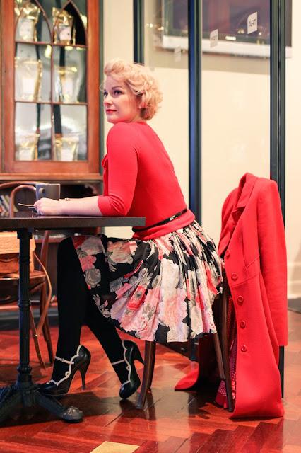 @findingfemme wears black floral Bardot dress, Review Australia sweater and Wittner Heels in Ballarat.