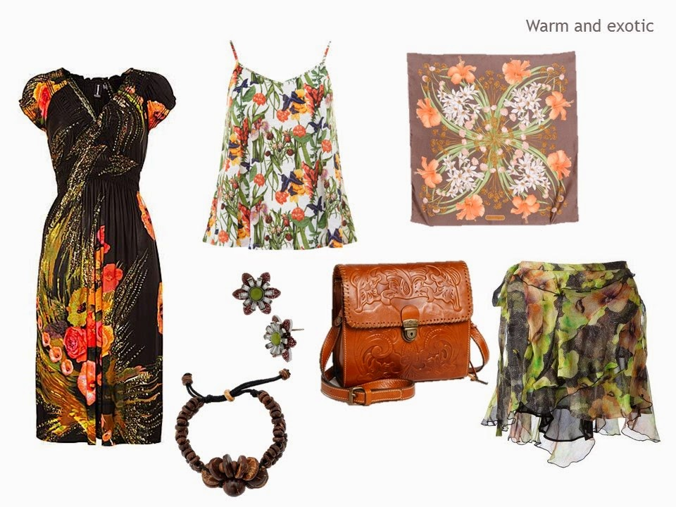 warm hued floral printed garments and accessories