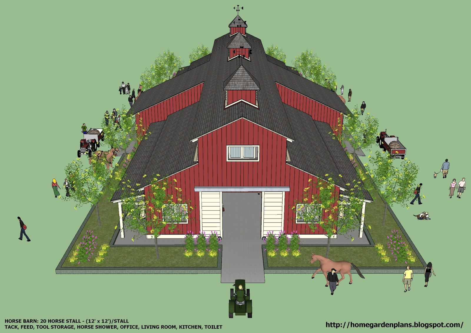 Curtis pdf plans horse barn plans free for Large barn plans