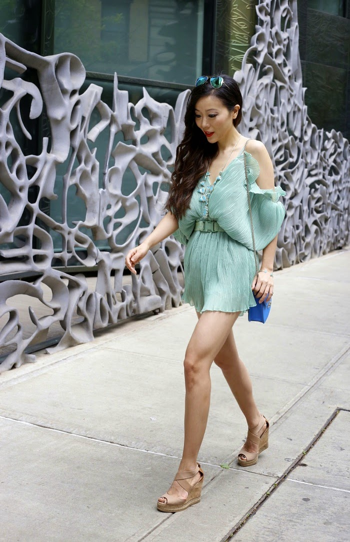 Alice McCall At first sight playsuit, sheinside playsuit, kendra scott havana statement necklace, kendra scott elton bracelet, tory burch wedges, valentino lock bag, rayban sunglasses, summer outfit, fashion blog, nyc