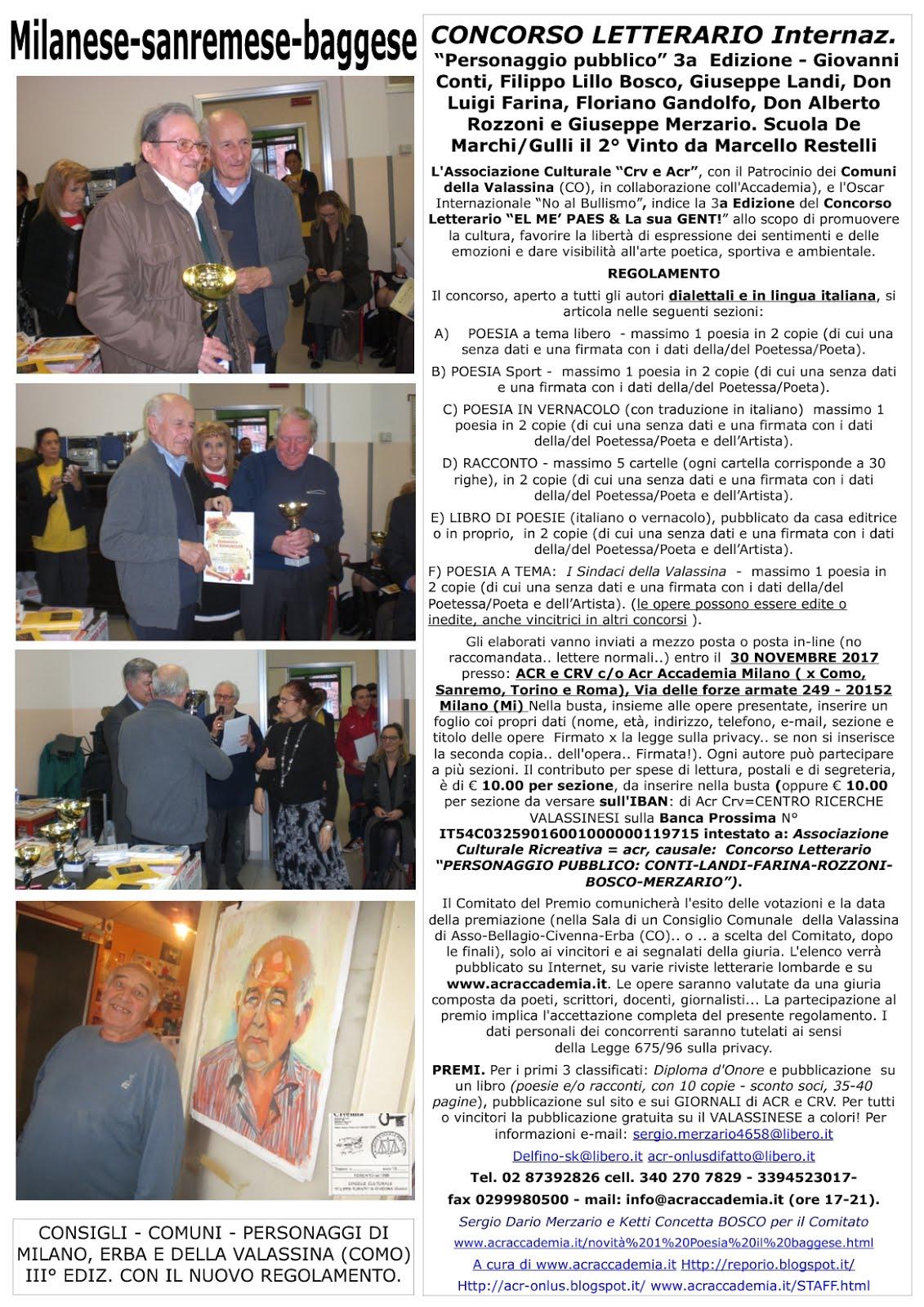 Oscar Int. Artisti e Scuole contro il BULLISMO 28a Ediz. 2017!