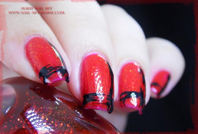 Nail Art Abstrait Rouge et Noir Facile4
