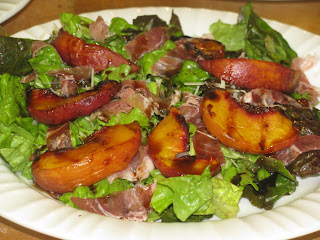 Grilled Peaches over Baby Greens with Parmesan and Prosciutto