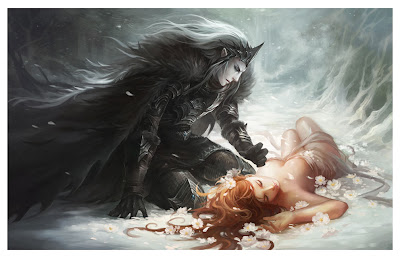Hades kneels by the prone body of Persephone