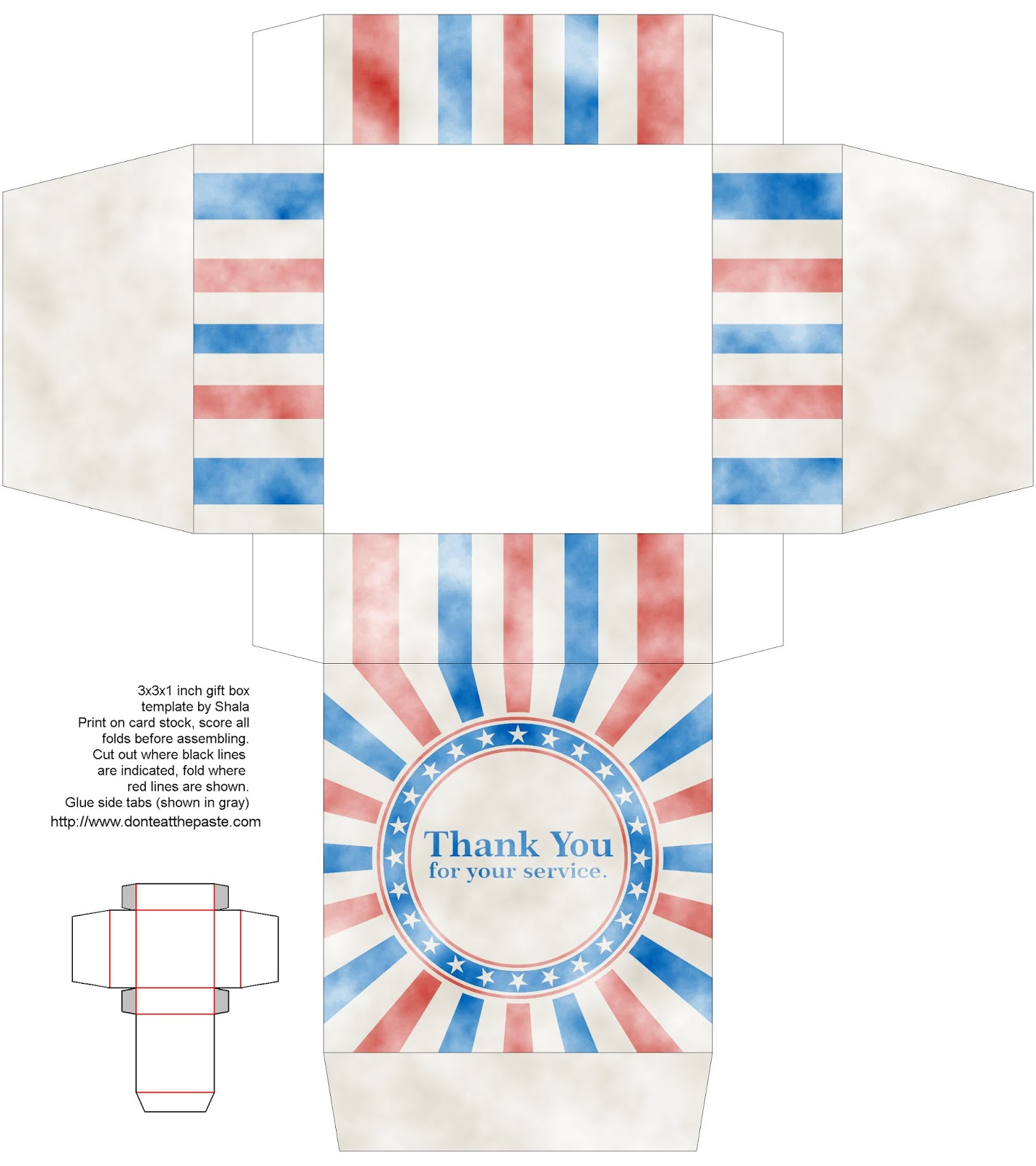 "Printable Veteran's Day gift box that says ""Thank you for your service"""