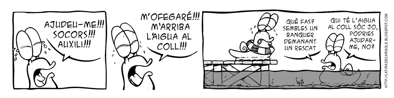 Tira comica 127 del webcomic Cargols del dibuixant Franchu de Barcelona