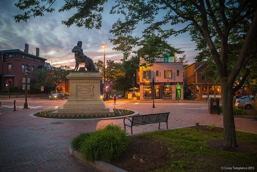 Longfellow Square and Henry Wadsworth Longfellow Statue in Portland, Maine Congress and State Streets in June 2015. Photo by Corey Templeton.